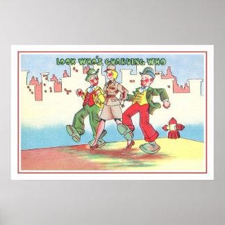 Vintage Vierzigerjahre MilitärSpaß, der schützt, Poster