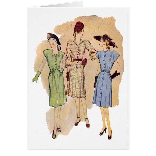 Vintage Vierzigerjahre Mode-Karte
