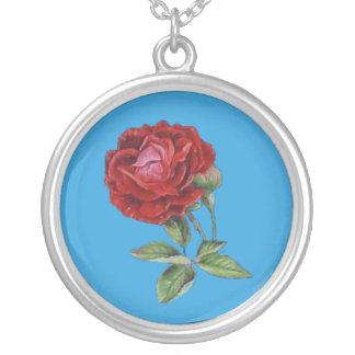 Vintage viktorianische blaue Rosenhalskette Halsketten