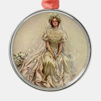 Vintage viktorianische Braut-Blumen, Brautporträt Silbernes Ornament