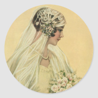 Vintage viktorianische Braut im Runde Sticker