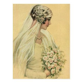 Vintage viktorianische Braut im Postkarten