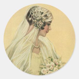 Vintage viktorianische Braut im Profil-Brautporträ Runde Aufkleber