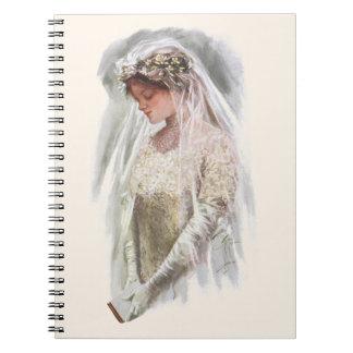 Vintage viktorianische Braut mit Bibel Harrison Spiral Notizblock