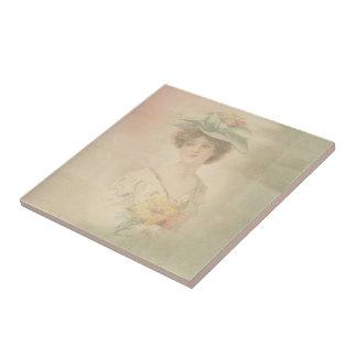 Vintage viktorianische Dame Ceramic Tile Kleine Quadratische Fliese