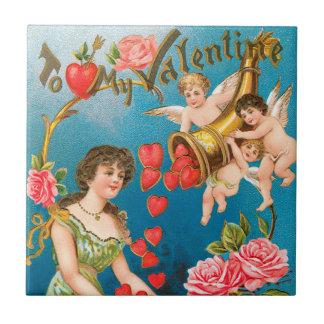 Vintage viktorianische Engel des Valentines Fliese