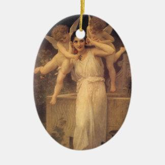 Vintage viktorianische Engel, Jugend durch Ovales Keramik Ornament