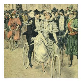 Vintage viktorianische Fahrrad-Hochzeits-Einladung Karte