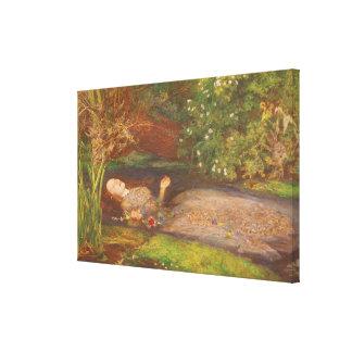 Vintage viktorianische feine Kunst, Ophelia durch Leinwanddruck