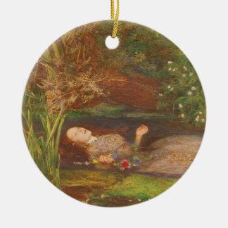 Vintage viktorianische feine Kunst, Ophelia durch Rundes Keramik Ornament