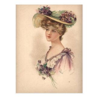 Vintage viktorianische Frau im Blumenhut Postkarte