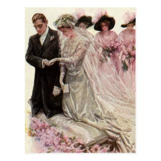 Vintage viktorianische Hochzeits-Zeremonie-Braut Postkarte