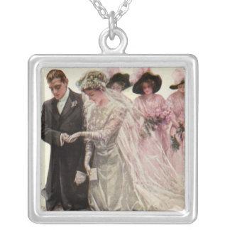 Vintage viktorianische Hochzeits-Zeremonie, Halskette Mit Quadratischem Anhänger