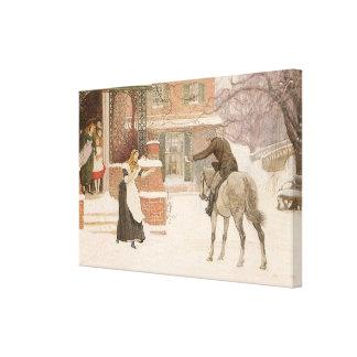 Vintage viktorianische Kunst, Briefträger durch Leinwanddruck