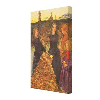 Vintage viktorianische Kunst, Herbst-Blätter durch Leinwanddruck