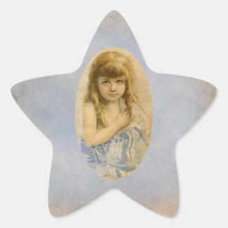 Vintage viktorianische Mädchen-Stern-Aufkleber Stern Aufkleber
