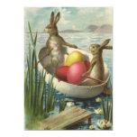 Vintage viktorianische Osterhasen, Eier, Boot Personalisierte Einladungskarte