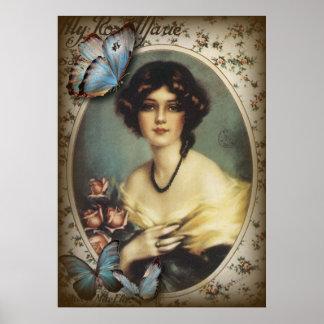 Vintage viktorianische retro Paris-mit Blumenfrau Poster