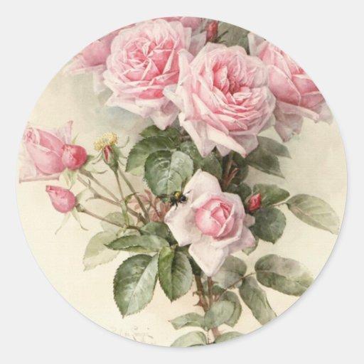 Vintage viktorianische romantische Rosen Runder Sticker