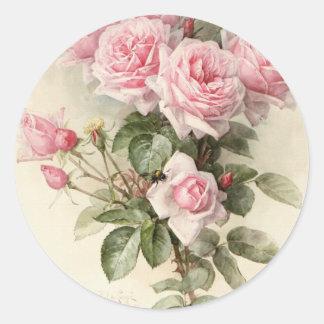 Vintage viktorianische romantische Rosen Runder Aufkleber