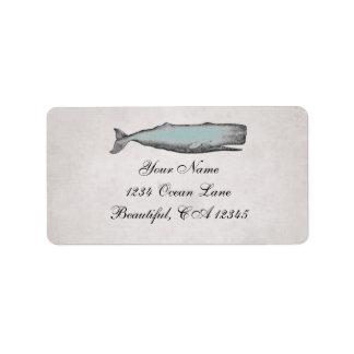 Vintage viktorianische Wal-Strand-Adresse Adressaufkleber