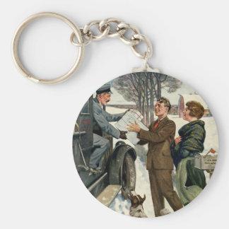 Vintage viktorianische Weihnachtsmailman-Lieferung Schlüsselanhänger