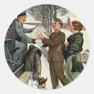 Vintage viktorianische Weihnachtspost Runder Aufkleber