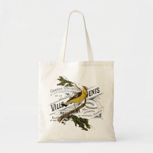 Vintage Vogel-Collage Einkaufstasche