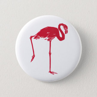 Vintage Vögel, ein rosa Flamingo Runder Button 5,7 Cm
