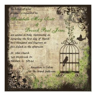 Vintage Vogel-Käfig-Hochzeits-Einladung Quadratische 13,3 Cm Einladungskarte