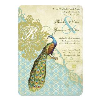 Vintage Vogel-Lagune-Winterendivie-Damast-Hochzeit Karte