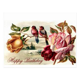Vintage Vogel-Rosen-Geburtstags-Postkarte Postkarte