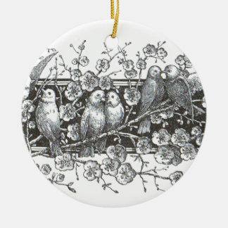 Vintage Vogel-runde Verzierung Rundes Keramik Ornament
