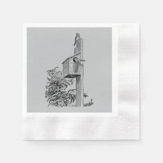 Vintage Vögel und Birdhouse-Silber Papierservietten