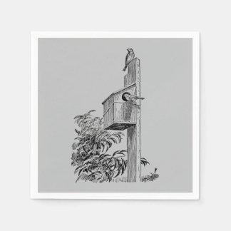 Vintage Vögel und Birdhouse-Silber Serviette