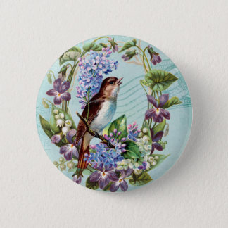 Vintage Vögel und Blumen auf Blau Runder Button 5,1 Cm