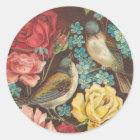 Vintage Vogel-und Rosen-Aufkleber Runder Aufkleber