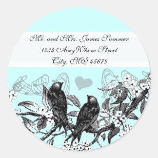 Vintage Vogel-weiße Blumen, die Aufkleber Wedding