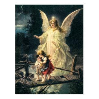 Vintage Wächter Engel und Kinder auf Brücke Postkarten