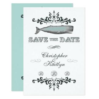 Vintage Wal-Strand-Hochzeit laden Save the Date Karte