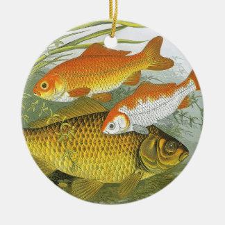 Vintage WasserGoldfish Koi Fische, Marineseeleben Keramik Ornament
