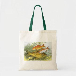 Vintage WasserGoldfish Koi Fische, Marineseeleben Tragetasche