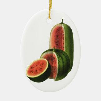 Vintage Wassermelone-hohe runde, Bio Ovales Keramik Ornament
