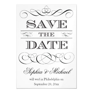 Vintage Wedding Typografie Save the Date Magnetische Karte