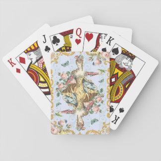 Vintage weibliche mit Blumenspielkarten der Spielkarten