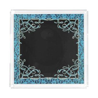 Vintage weiche blaue Spitze Acryl Tablett