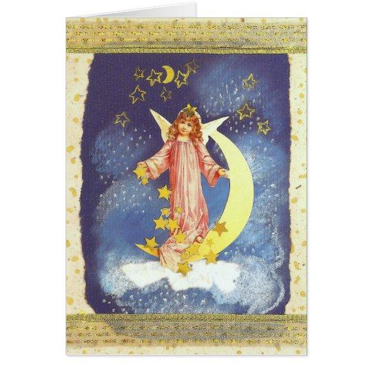 Vintage-Weihnachts-Engel mit Halbmond in blau Karte
