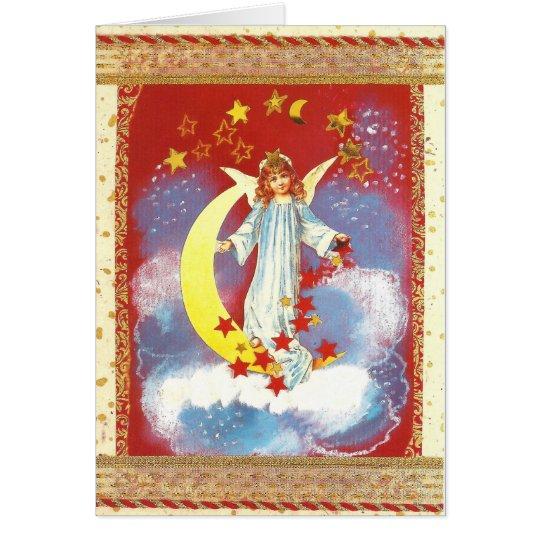 Vintage-Weihnachts-Engel mit Halbmond in Rot Karte