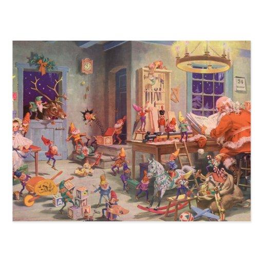 Vintage Weihnachts-, Weihnachtsmann- und Postkarte