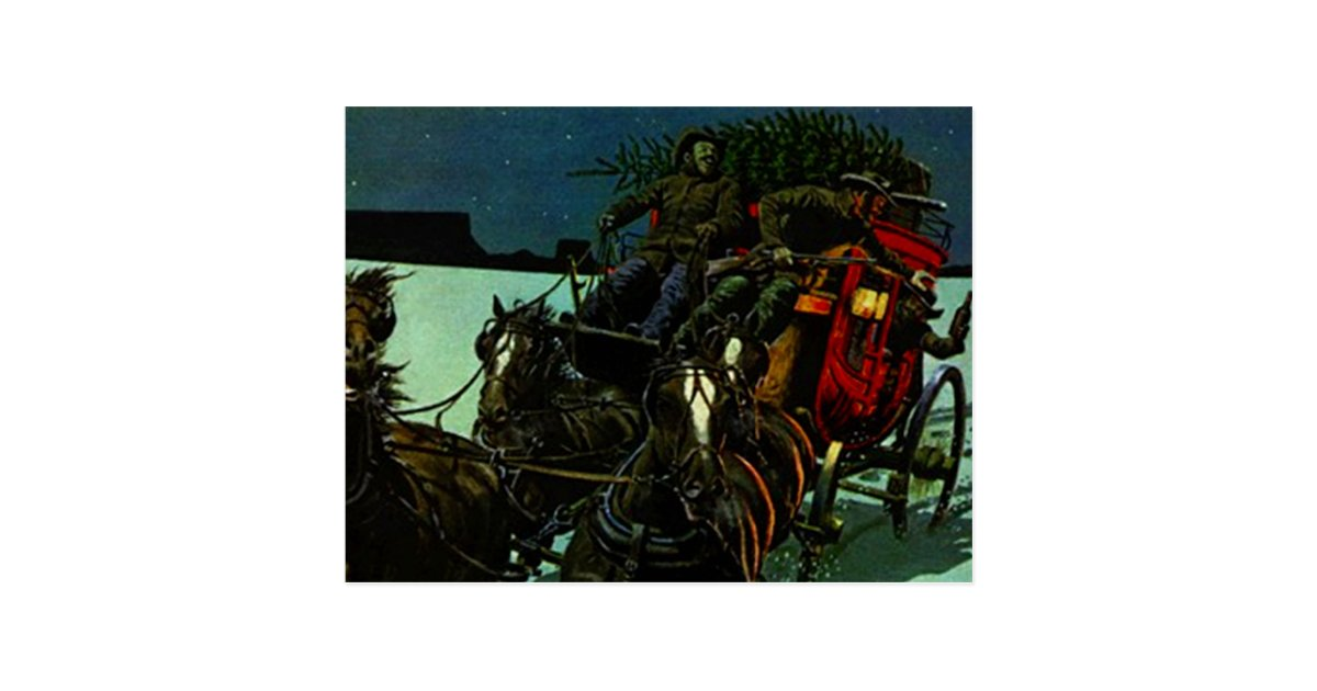vintage weihnachtsbaum lieferung weststagecoach postkarte. Black Bedroom Furniture Sets. Home Design Ideas